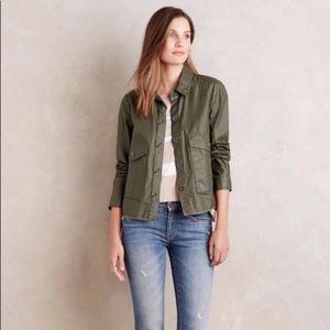 Anthro Hei Hei Olive Green Waxed Utility Jacket S
